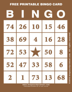 Free Printable Bingo Card 10