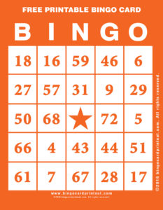Free Printable Bingo Card 2