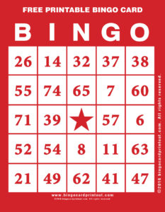 Free Printable Bingo Card