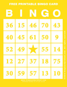 Free Printable Bingo Card 3