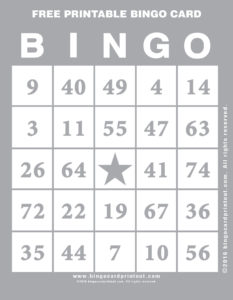 Free Printable Bingo Card 9