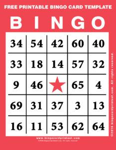 Free Printable Bingo Card Template 12