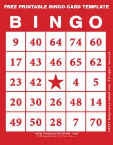Free Printable Bingo Card Template