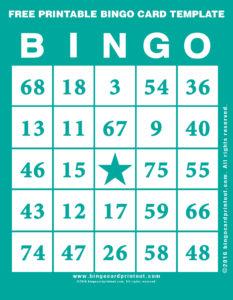Free Printable Bingo Card Template 5