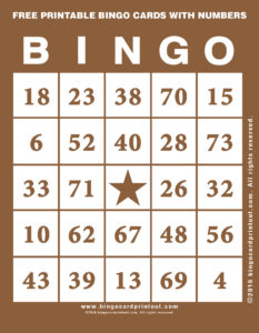 Free Printable Bingo Cards With Numbers 10