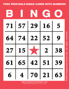 Free Printable Bingo Cards With Numbers 12