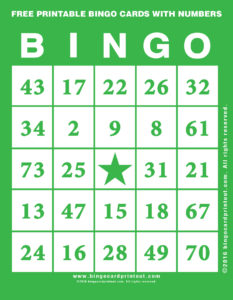 Free Printable Bingo Cards With Numbers 4