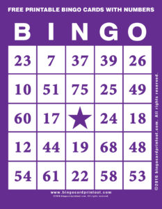 Free Printable Bingo Cards With Numbers 7