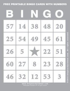 Free Printable Bingo Cards With Numbers 9