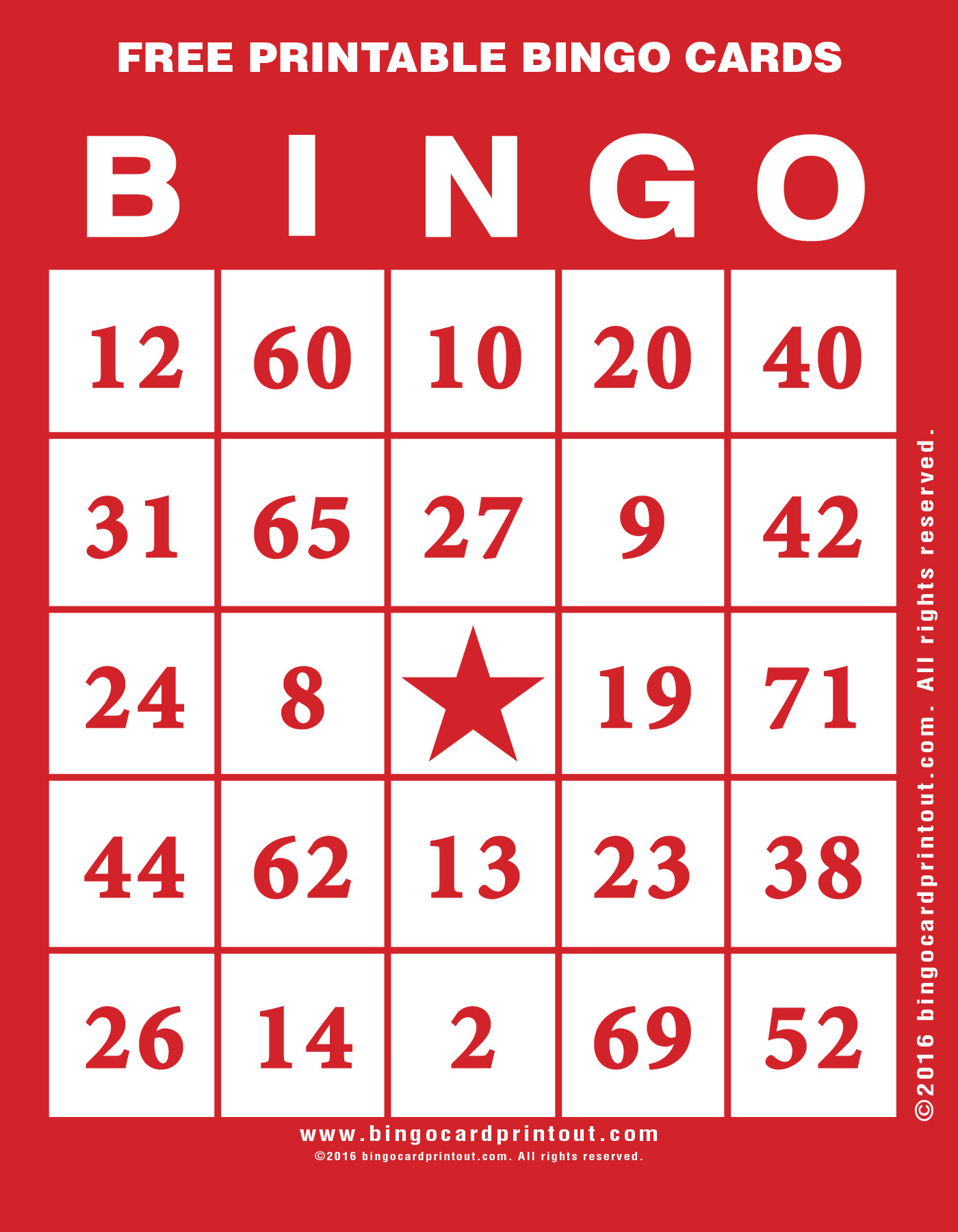 Printable Bingo Cards from BingoCardPrintout.com