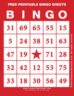 Free Printable Bingo Sheets