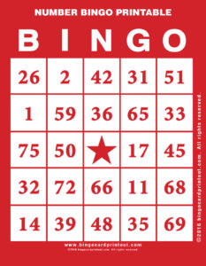 Number Bingo Printable