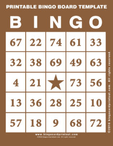 Printable Bingo Board Template 10