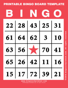 Printable Bingo Board Template 12