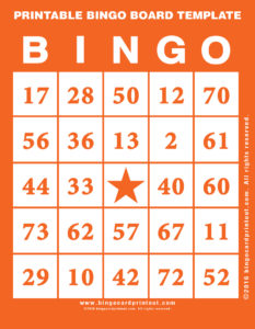 Printable Bingo Board Template 2