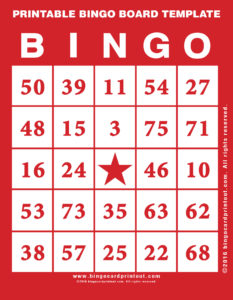 Printable Bingo Board Template