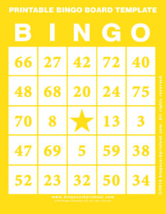 Printable Bingo Board Template 3