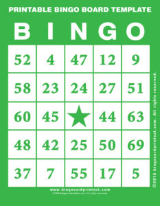 Printable Bingo Board Template 4