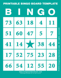 Printable Bingo Board Template 5