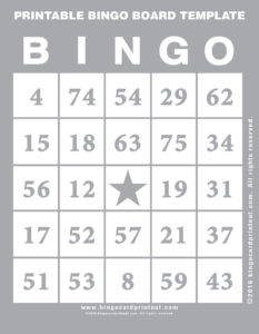 Printable Bingo Board Template 9