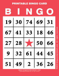Printable Bingo Card 12