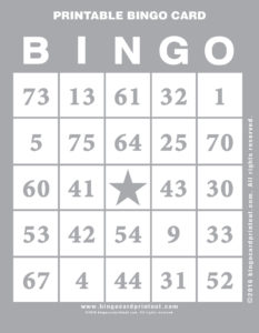 Printable Bingo Card 9
