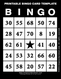 Printable Bingo Card Template 11