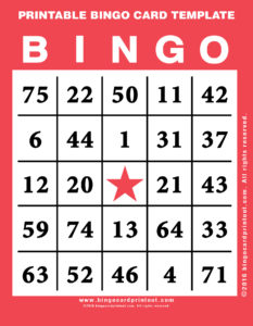 Printable Bingo Card Template 12