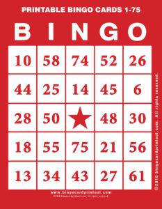 Printable Bingo Cards 1-75