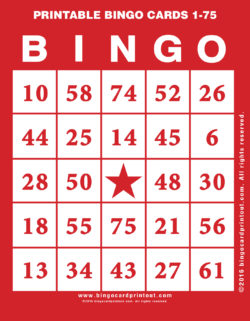 Printable Bingo Cards 1-75