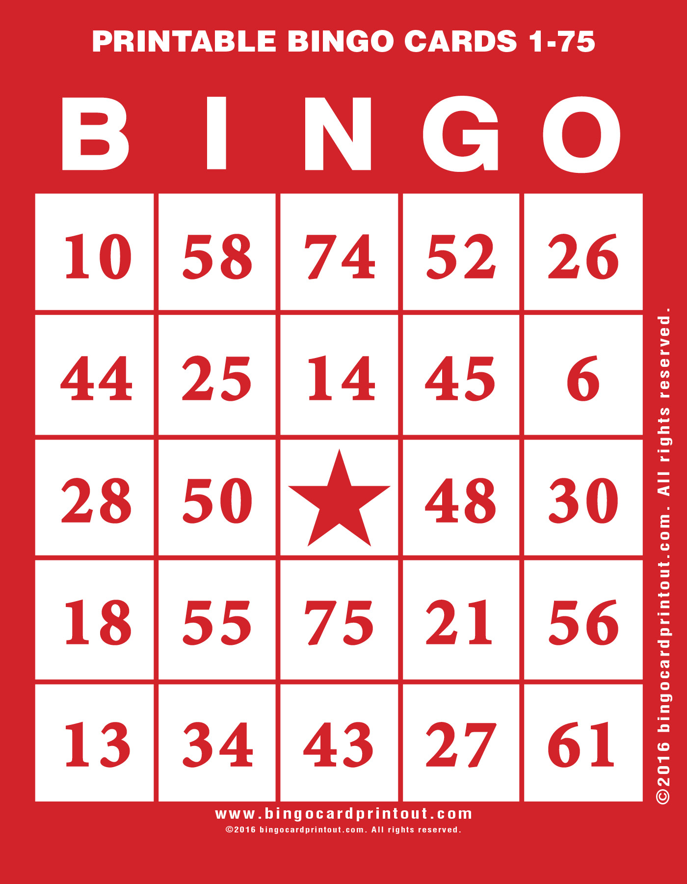 picture about Printable Bingo Cards 1-75 called Printable Bingo Playing cards 1-75 -