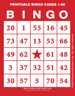 Printable Bingo Cards 1-90