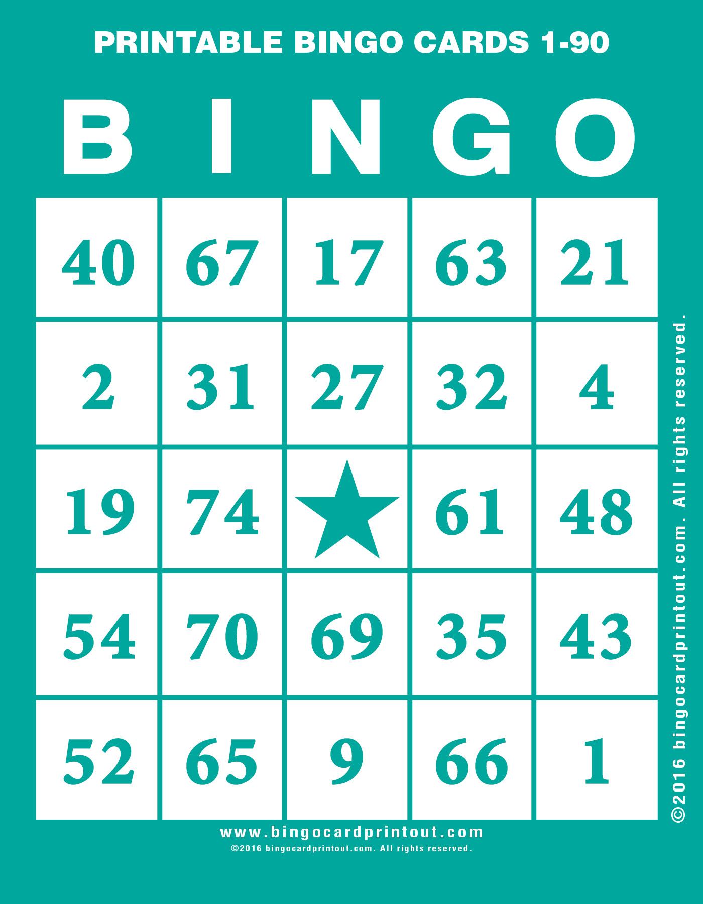 Printable Bingo Cards 1-90 - BingoCardPrintout.com