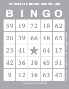 Comprehensive image within printable bingo cards 1-90