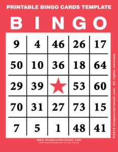 Printable Bingo Cards Template 12
