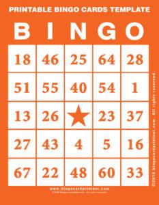 Printable Bingo Cards Template 2