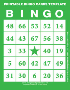 Printable Bingo Cards Template 4