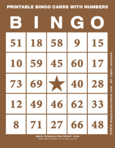 Printable Bingo Cards With Numbers 10