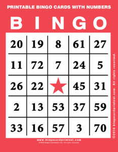 Printable Bingo Cards With Numbers 12