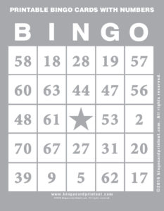 Printable Bingo Cards With Numbers 9