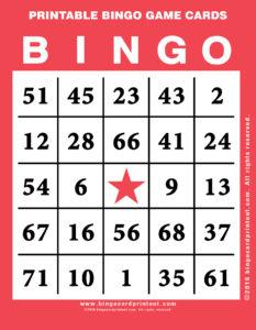 Printable Bingo Game Cards 12