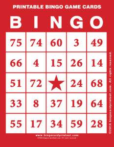 Printable Bingo Game Cards