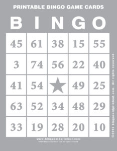 Printable Bingo Game Cards 9
