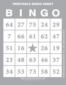 Printable Bingo Sheet 9