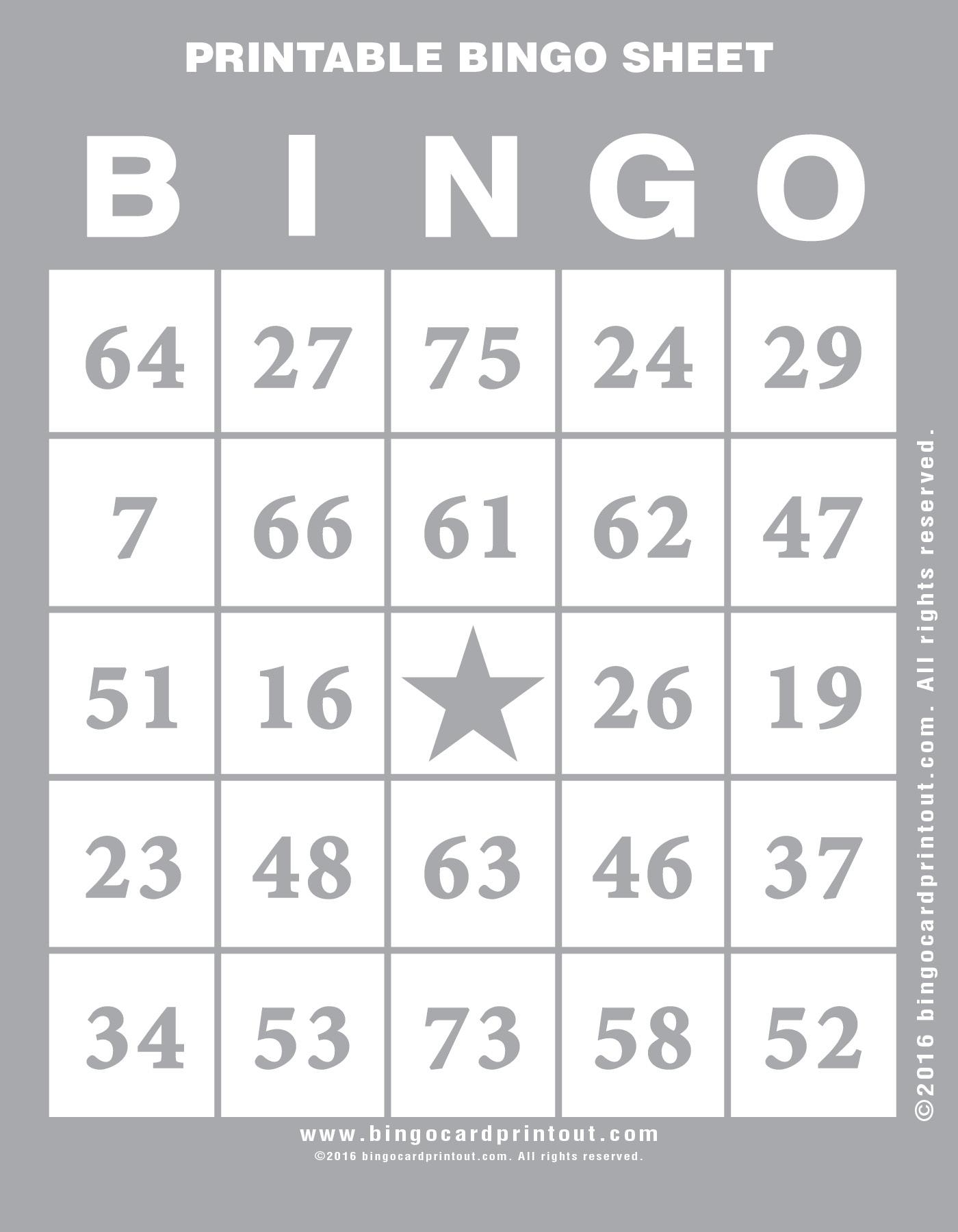 Printable Bingo Sheet Bingocardprintout Com