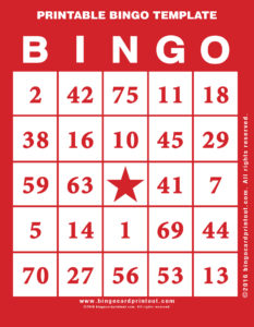 Printable Bingo Template