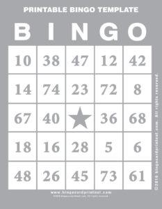 Printable Bingo Template 9